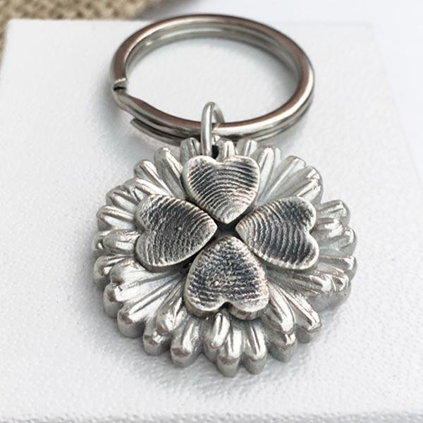 Fingerprint Flower Keyring